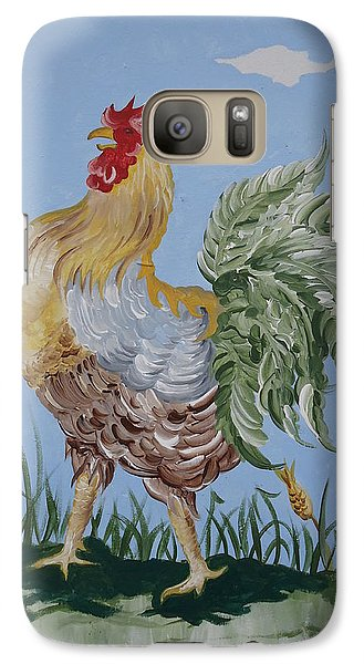 Galaxy Case featuring the painting Rooster by Leslie Manley