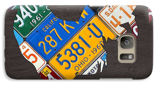 Rooster Recycled License Plate Art On Gray Wood Galaxy S7 Case by Design Turnpike