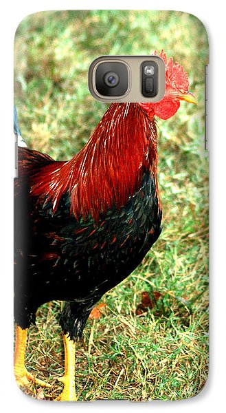 Galaxy Case featuring the photograph Rooster Red by Lesa Fine