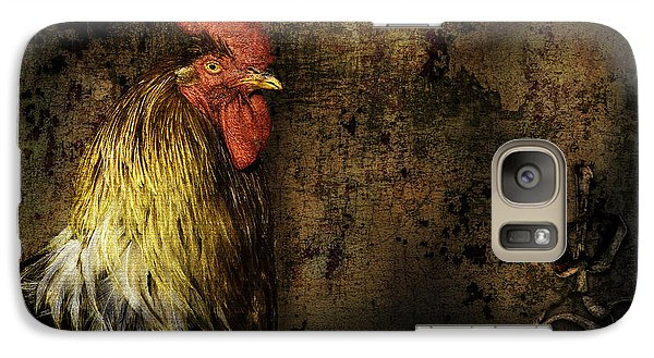 Galaxy Case featuring the mixed media Rooster With Brush Calligraphy Loyalty by Peter v Quenter