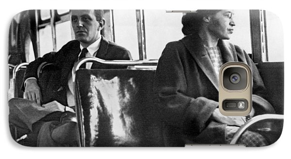 Rosa Parks On Bus Galaxy Case by Underwood Archives