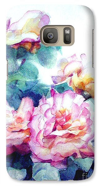 Galaxy Case featuring the painting Pink Rose Bush by Greta Corens