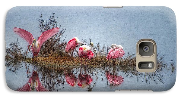 Spoonbill Galaxy S7 Case - Roseate Spoonbills At Rest by Lianne Schneider