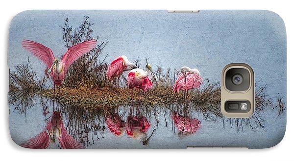 Galaxy Case featuring the digital art Roseate Spoonbills At Rest by Lianne Schneider