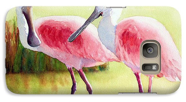 Galaxy Case featuring the painting Roseate Spoonbills by Judy Mercer