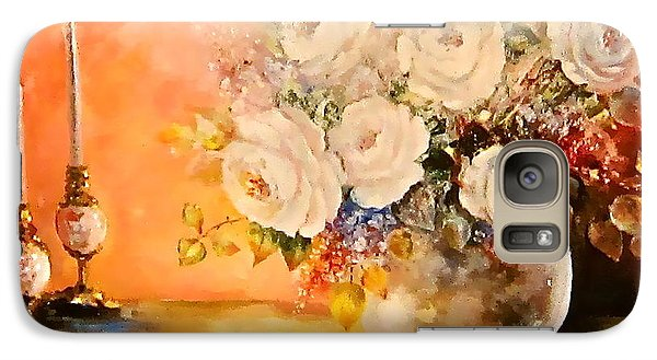 Galaxy Case featuring the painting Roses And Candlelight by Patricia Schneider Mitchell