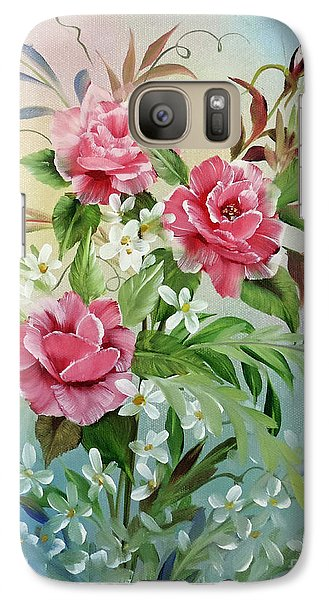 Galaxy Case featuring the painting Roses And Daisies by Jimmie Bartlett