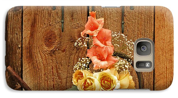 Galaxy Case featuring the photograph Roses And Gladiolus  by Marjorie Imbeau