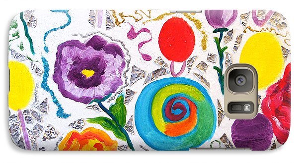 Galaxy Case featuring the painting Roses And Lollipops For Mom by Meryl Goudey