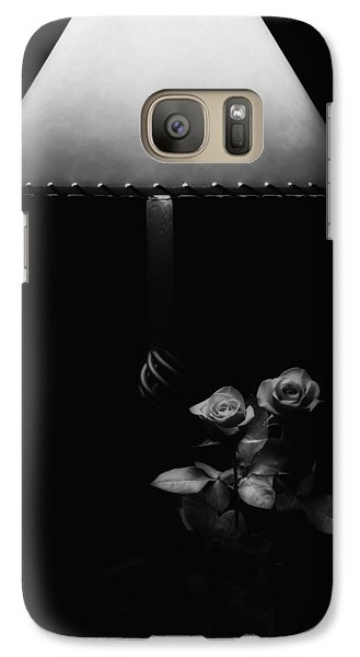 Galaxy Case featuring the photograph Roses By Lamplight Bw by Ron White