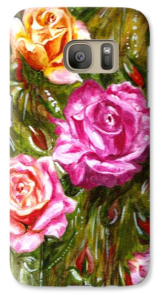 Galaxy Case featuring the painting Roses by Harsh Malik