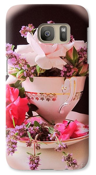 Galaxy Case featuring the photograph Roses In Thyme Teacup Vignette by Margaret Newcomb