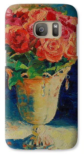 Galaxy Case featuring the painting Roses In Wire Vase by Thomas Bertram POOLE