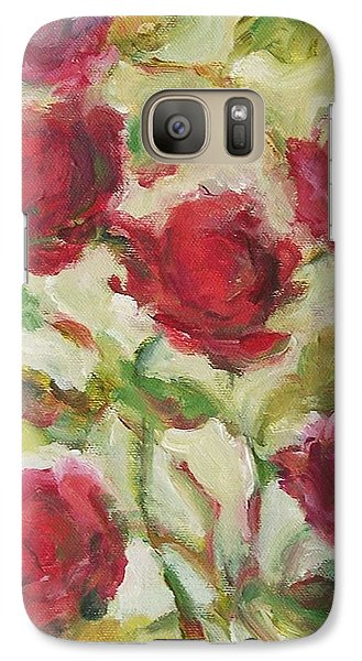 Galaxy Case featuring the painting Roses by Mary Wolf