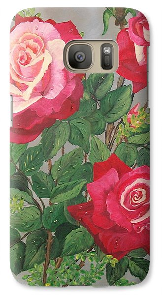 Galaxy Case featuring the painting Roses N' Rain by Sharon Duguay