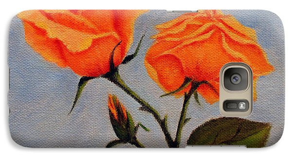 Galaxy Case featuring the painting Roses With Bud by Roseann Gilmore