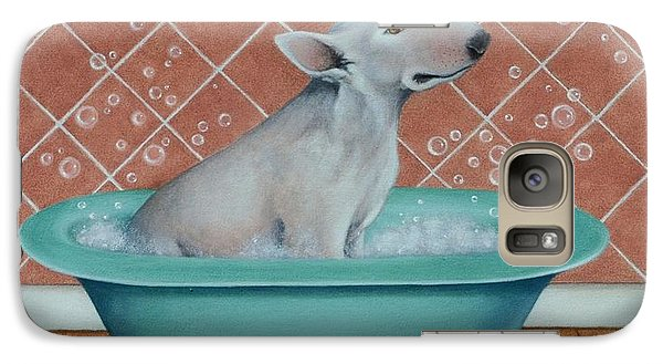 Galaxy Case featuring the painting Rosie In The Bliss Bubbles by Cynthia House