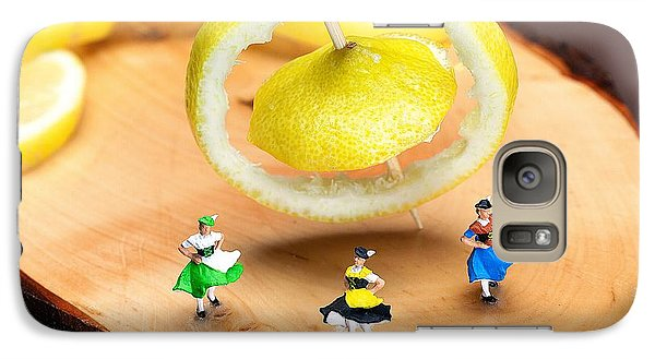 Galaxy Case featuring the photograph Rotating Dancers And Lemon Gyroscope Food Physics by Paul Ge