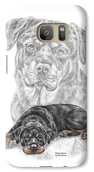 Galaxy Case featuring the drawing Rottie Charm - Rottweiler Dog Print With Color by Kelli Swan