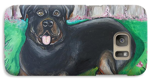 Galaxy Case featuring the painting Rottweiler by Leslie Manley