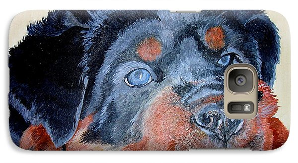 Galaxy Case featuring the painting Rottweiler Puppy Portrait by Tracey Harrington-Simpson