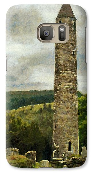 Galaxy Case featuring the painting Round Tower At Glendalough by Jeff Kolker