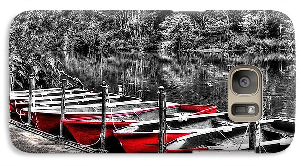 Row Of Red Rowing Boats Galaxy S7 Case by Kaye Menner