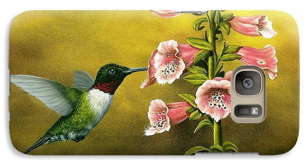 Ruby Throated Hummingbird And Foxglove Galaxy S7 Case by Rick Bainbridge