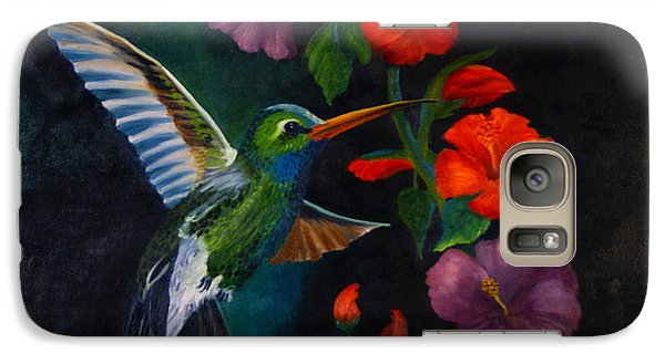Galaxy Case featuring the painting Rubythroated Humming Bird And Hibiscus by J Cheyenne Howell