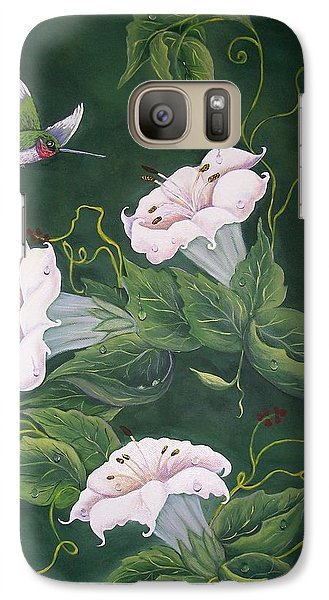 Galaxy Case featuring the painting Hummingbird And Lilies by Sharon Duguay