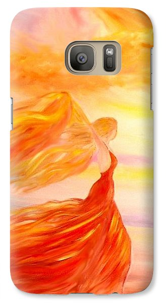 Galaxy Case featuring the painting Running Along The Beach by Lilia D