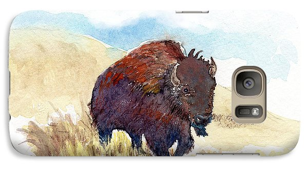 Galaxy Case featuring the painting Running Buffalo by C Sitton