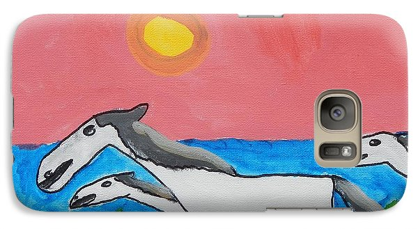 Galaxy Case featuring the painting Running Ponies by Artists With Autism Inc