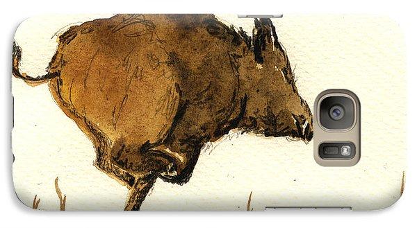 Pig Galaxy S7 Case - Running Wild Boar by Juan  Bosco