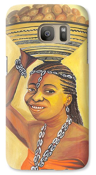 Galaxy Case featuring the painting Rural Woman From Cameroon by Emmanuel Baliyanga