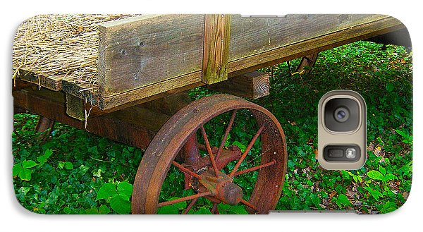 Galaxy Case featuring the photograph Rusted Wagon Wheel by Val Miller