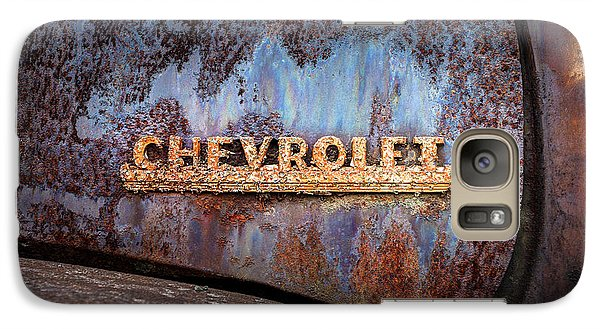 Galaxy Case featuring the photograph Rusty Chevrolet - Nameplate - Old Chevy Sign by Gary Heller