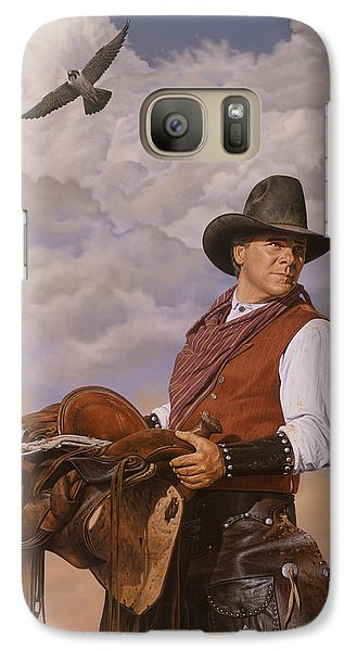 Galaxy Case featuring the painting Saddle 'em Up by Ron Crabb