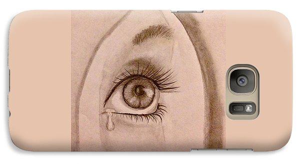 Galaxy Case featuring the drawing Sadness In The Eye by Bozena Zajaczkowska