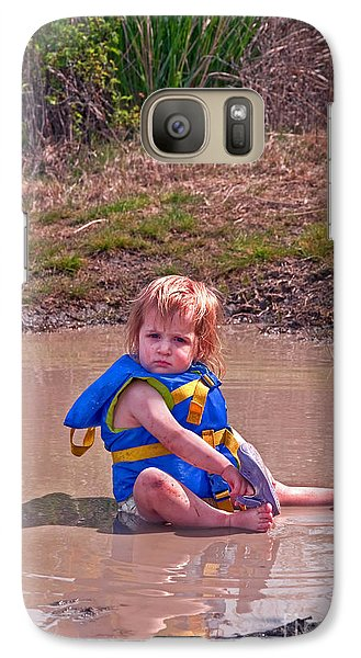 Galaxy Case featuring the photograph Safety Is Important - Toddler In Mudpuddle Art Prints by Valerie Garner