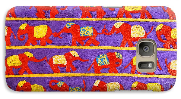 Galaxy Case featuring the painting Saffron Elephants by Cassandra Buckley