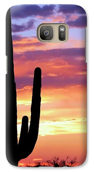 Galaxy Case featuring the photograph Saguaro At Sunset by Elizabeth Budd
