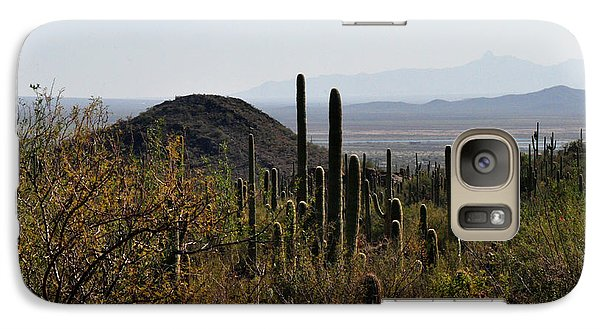 Galaxy Case featuring the photograph Saguaro Cactus And Valley by Diane Lent