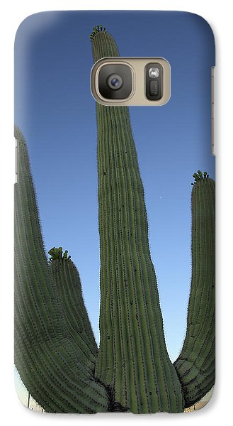Galaxy Case featuring the photograph Saguaro Cactus At Sunset by Alan Vance Ley