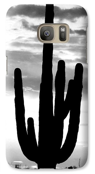 Galaxy Case featuring the photograph Saguaro In Black And White by Elizabeth Budd