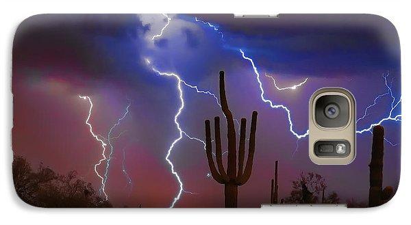 Saguaro Lightning Nature Fine Art Photograph Galaxy S7 Case