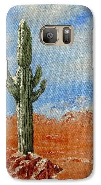 Galaxy Case featuring the painting Saguaro In Snow by Roseann Gilmore