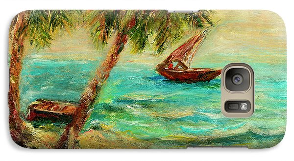 Galaxy Case featuring the painting Sail Boats On Indian Ocean  by Sher Nasser