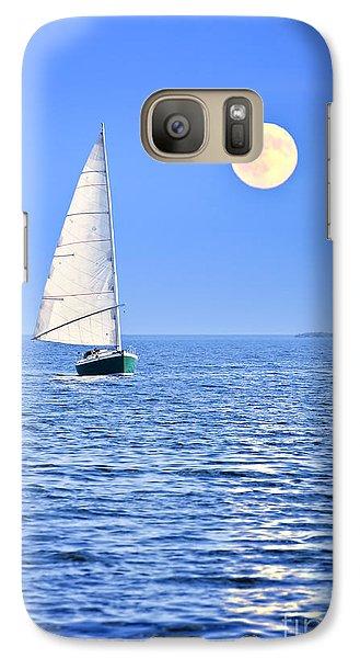 Boat Galaxy S7 Case - Sailboat At Full Moon by Elena Elisseeva