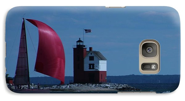 Galaxy Case featuring the photograph Sailboat Crossing Finish Line by Bill Woodstock